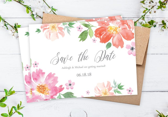 """Save The Date Cards - 5"""" x 7"""" Floral Watercolor Wedding Announcement Card - Save The Dates - Custom Save the Date - Photo Cards - #satd-251"""