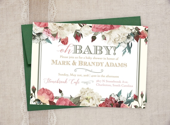 Baby Shower Invitations Vintage Floral Baby Shower Invitations