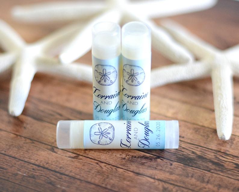 Sand Dollar Wedding Lip Balms Tropical Wedding Chapstick #wdiL-343 Lip Balm Labels and Tubes Beach Wedding Chapstick Favors