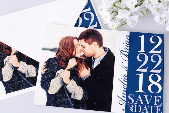 """Modern Elegance - Save The Date Cards - 5"""" x 7"""" Wedding Announcement Cards - Save The Dates - Personalized Save the Dates - Photo Cards"""