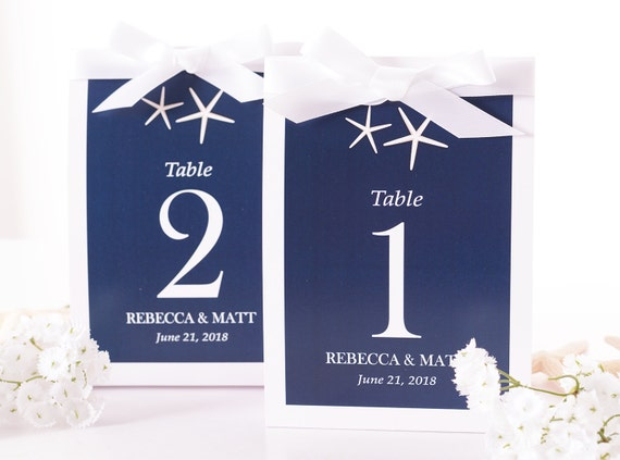 Beach Wedding Table Number Tent Cards Beach Wedding Table Markers