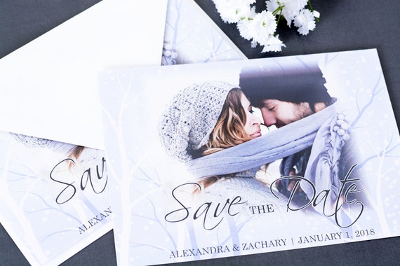 """Winter Save The Date Cards - 5"""" x 7"""" Winter Woods Wedding Announcement Cards - Save The Dates - Personalized Save the Dates - Photo Cards"""