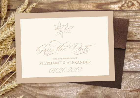 """Natural Save The Date Cards - 5"""" x 7"""" Floral Wedding Announcement Cards - Save The Dates - Custom Save the Dates - Photo Cards - #satd-293"""