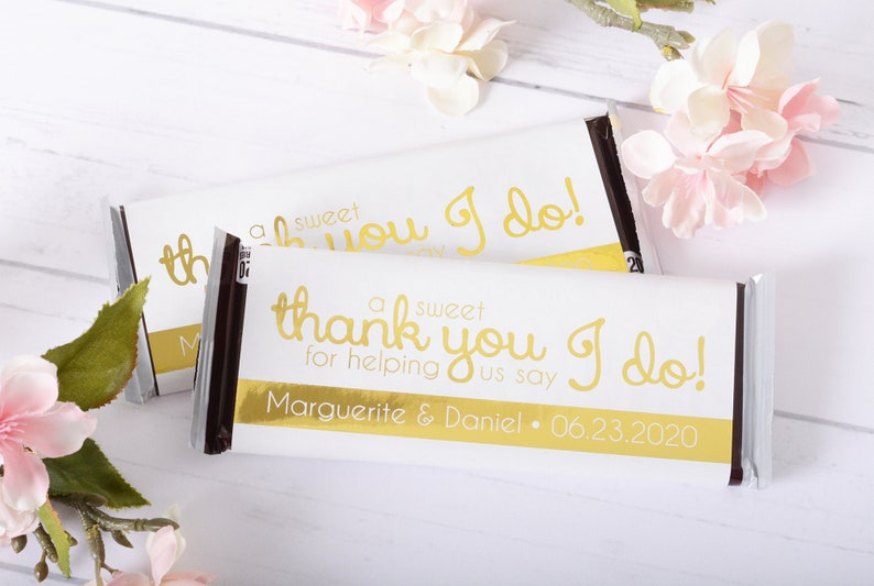 Wedding Candy Wrappers Gold Wedding Chocolate Labels Metallic Foil Chocolate Bar WRAPPERS Custom Candy Stickers #whb-133