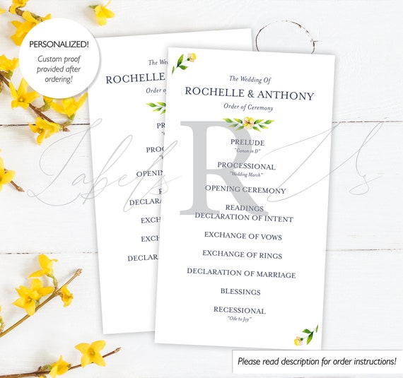 Wedding Ceremony Cards Order Of Ceremony Card Wedding