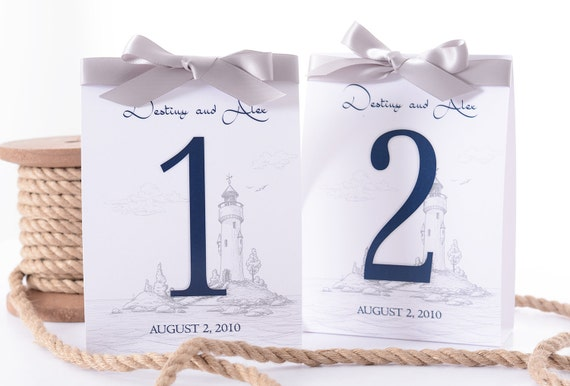 nautical wedding table number tent cards lighthouse wedding etsy