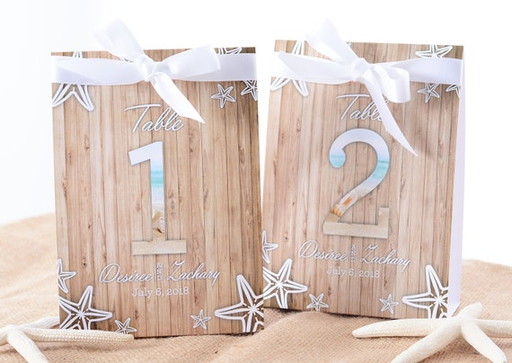 Beach Wedding Table Number Tent Cards Beach Wedding Table