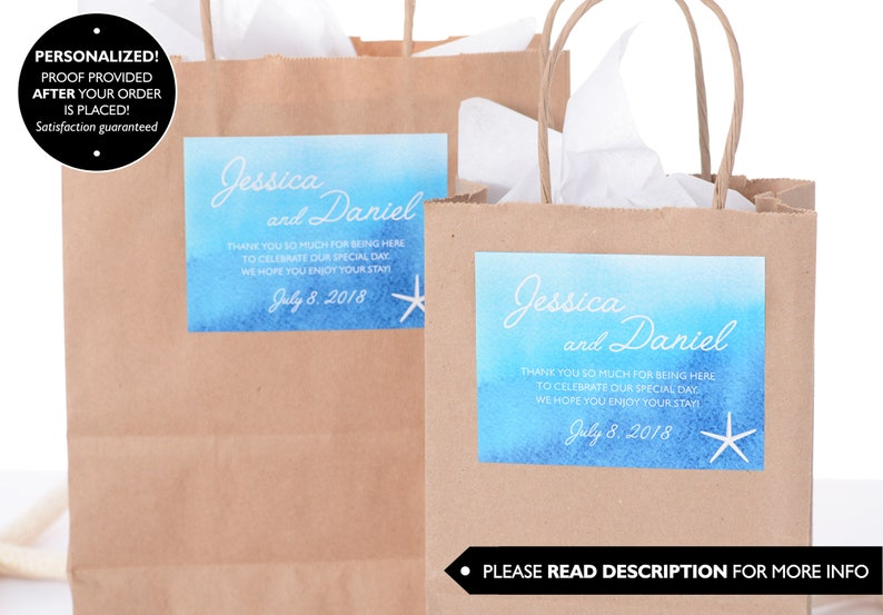 Beach Wedding Stickers wdiB-244 Watercolor Wedding Stickers -Beach Wedding Label Custom Wedding Stickers Beach Wedding Box Label