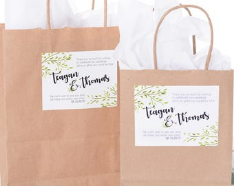 Wedding Favor Bags, Greenery Stickers, Wedding Welcome Bag Gifts, Hotel Welcome Bags, Paper Gift Bags, Wedding Guest Gifts, #wdiB-259