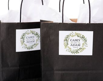 Wedding Gift Bags, Wedding Favor Bags, Hotel Welcome Bags, Wedding Greenery Stickers, Custom Welcome Bags, Paper Gift Bags, #wdiB-224