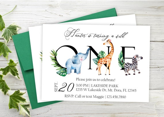 Wild First Birthday Invitations Safari First Birthday Party