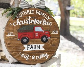 Handpainted Red Christmas Tree Truck Farmhouse Door Hanger