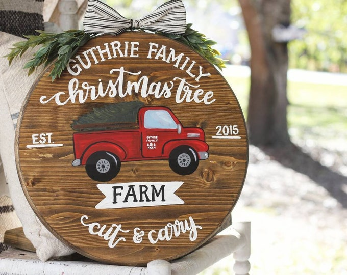 Handpainted Red Christmas Tree Truck Farmhouse Door Hanger