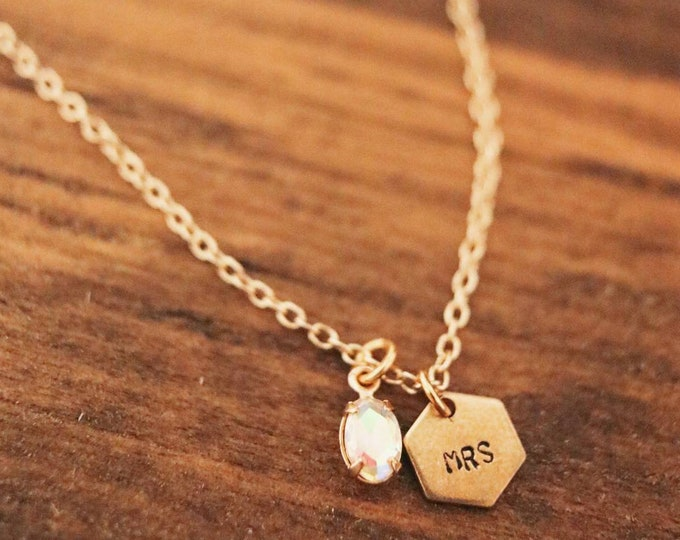 Geometric Initial Necklace with Gemstone Bridesmaid Gift