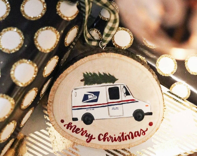 Wood Slice Postal Service Ornament Gift