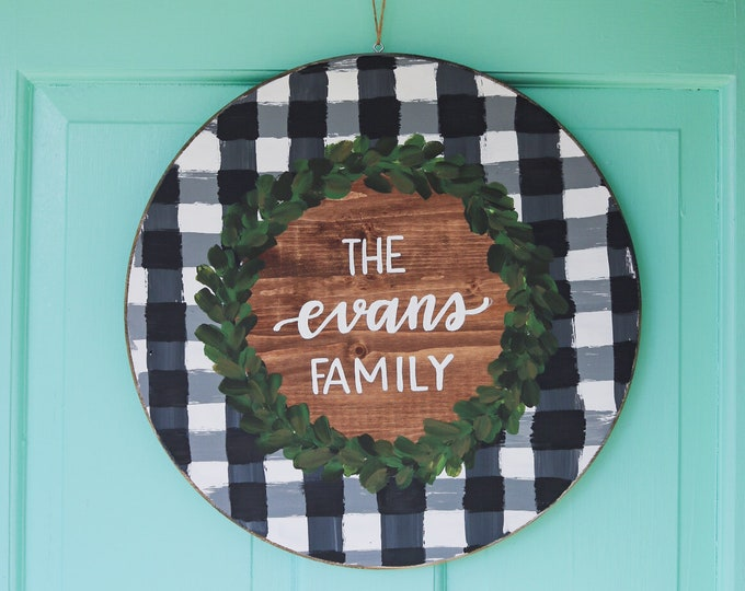Buffalo Plaid Door Hanger