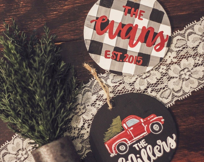 Personalized Farmhouse Christmas Ornaments