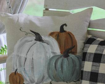 Handpainted Heirloom Pumpkin Fall Farmhouse Throw Pillow