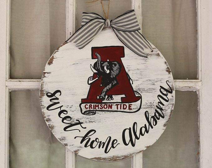 Handpainted Vintage Alabama Football Door Hanger