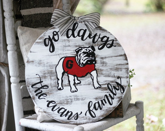 Hand painted Vintage Georgia Bulldog Football Door Hanger