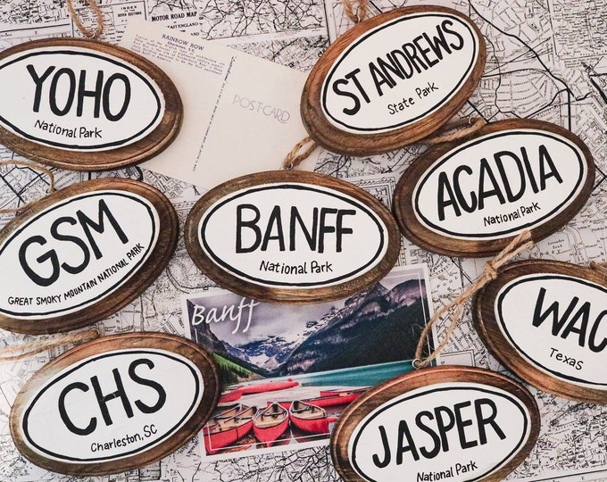 Handpainted Wooden Travel Vacation Ornaments