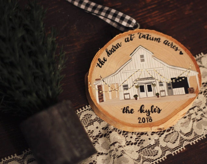 Custom Hand Painted  Ornament (Round Bulb or Wood Slice)