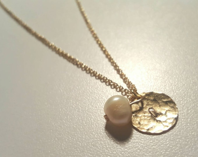 Dainty Hammered Gold Initial Necklace with Pearl