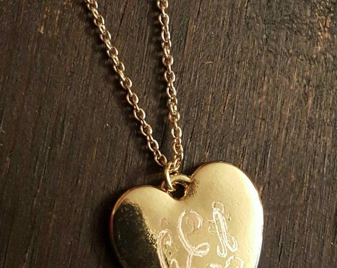 Gold Monogram Heart Necklace