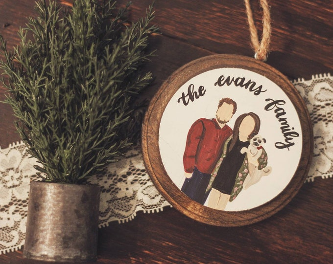 Farmhouse style Personalized Family Christmas Ornaments