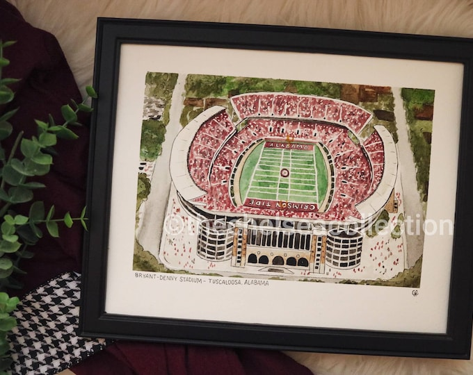 Alabama Watercolor Stadium Print