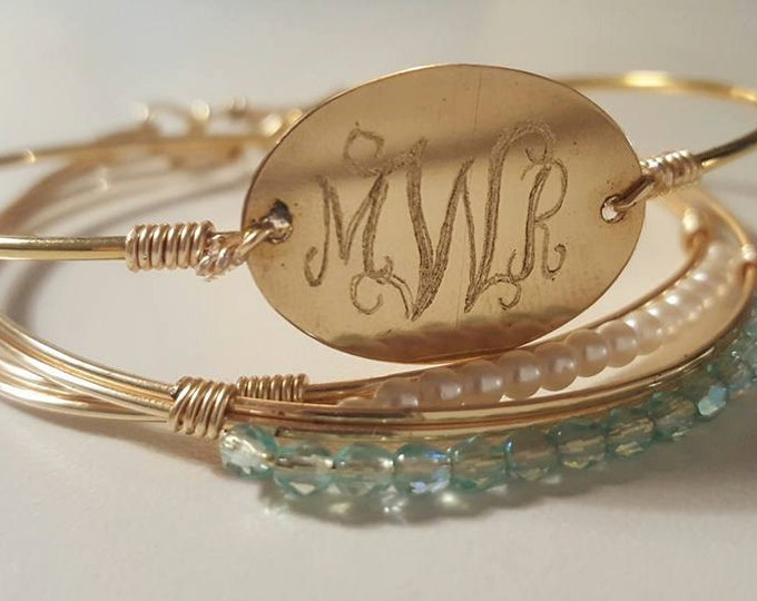 Monogram Personalized Stacking Bangle, 18k plated Gold, Engraved