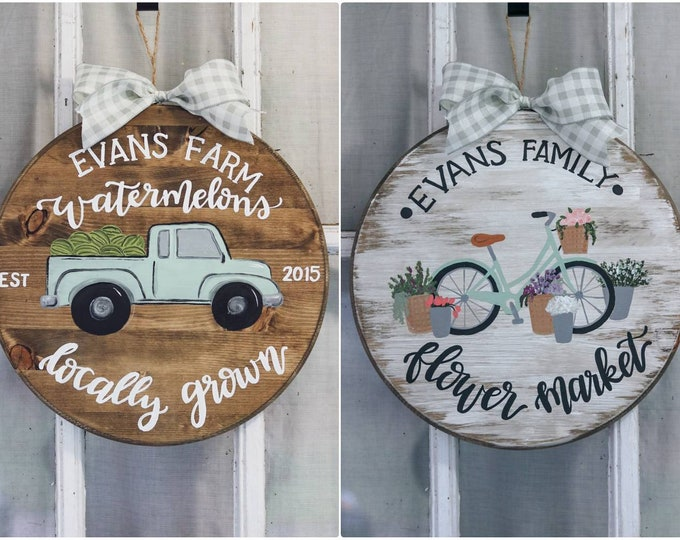 Spring/ Summer Reversible Personalized Family Door Hanger