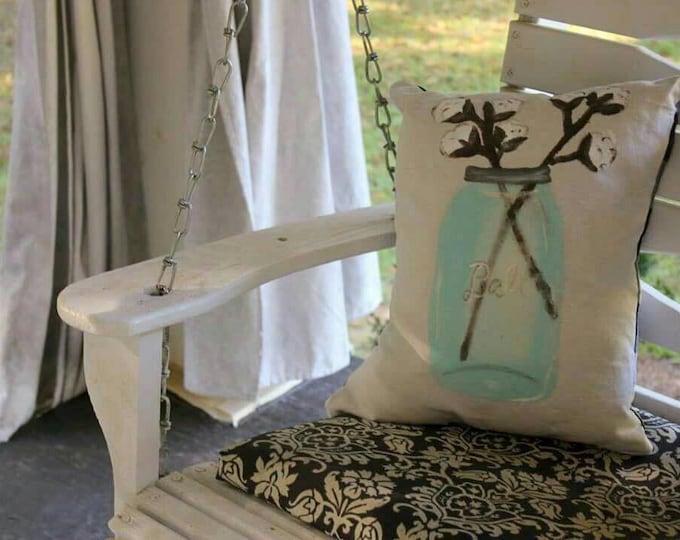 Handpainted Mason Jar Cotton Stem Pillow