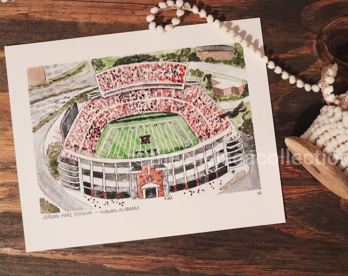 Auburn Tigers Stadium Watercolor Print