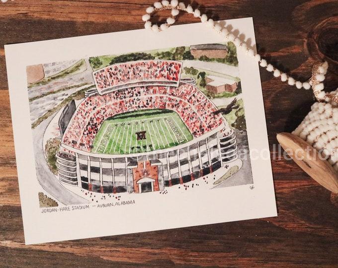 Auburn Tigers Stadium Watercolor Print