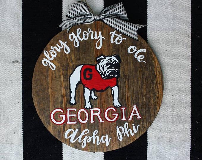 Hand painted Vintage Georgia Bulldog Football Door Hanger
