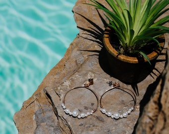 Life is the Bubbles Pearl Hoops