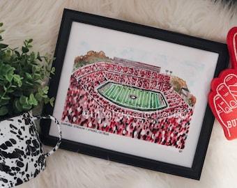 Sanford Stadium/ University of Georgia Watercolor Print