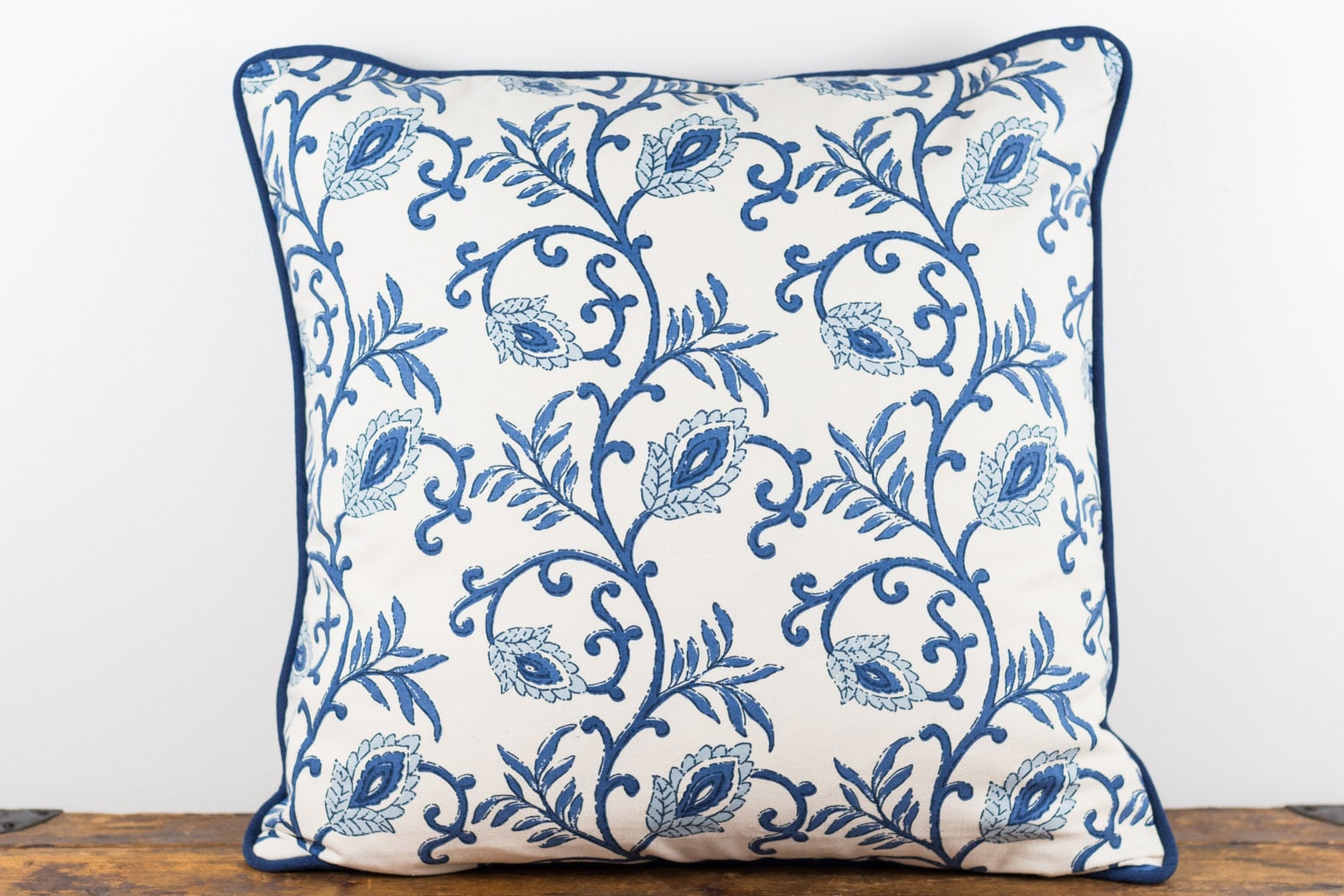 Blue and natural block print pillow cover