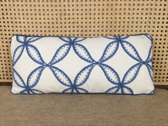 Surprising Blue Embroidered Small Lumbar Pillow Cover Ocoug Best Dining Table And Chair Ideas Images Ocougorg