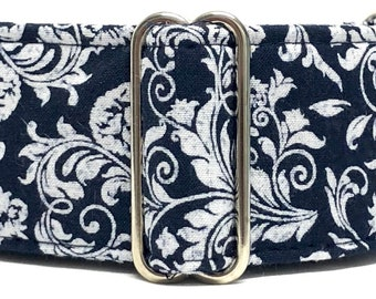 """Martingale Collar /Dog Collar /Navy blue collar/1.5"""" Martingale /2"""" Martingale / Sighthound collar / Galgo / Whippet / Gift for dog lover"""
