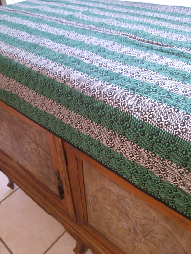 Green White and Black Table or Buffet Runner or ust a Beautiful Scarf