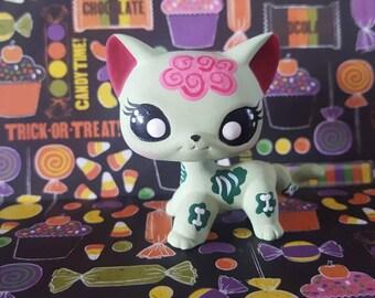 zombie halloween short hair cat ooak custom littlest pet shop repaint lps