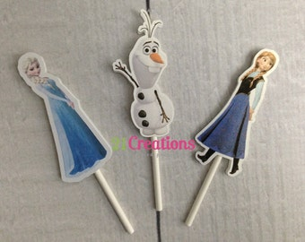 Frozen Cupcake Toppers - Elsa, Anna, Olaf