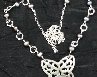 Mother Of Pearl Butterfly with Pearls & Sterling Silver Necklace