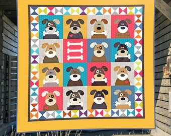 Harry and the Hound Dogs PDF Quilt Pattern | Quilt Patterns | Sewing Patterns | Dog Quilts | Applique Quilts | Kids Quilts | Applique Dogs