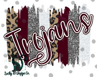 TROJANS, maroon and white, Brushstrokes, Hand drawn, PNG File, Sublimation Design, Ready to Print, Instant Download