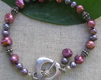 Purple and Rose Pearl Bracelet
