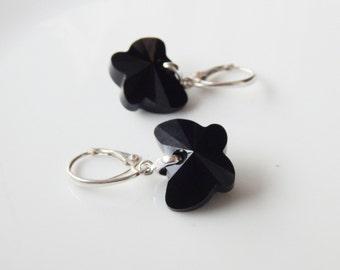 Swarovski black crystal butterfly dangle earrings with sterling silver leverback earwires Swarovski Jet butterflies leverbacks