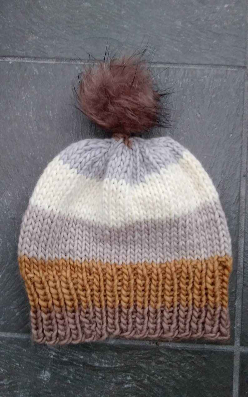 Hand Knitted Brown Gray Hat